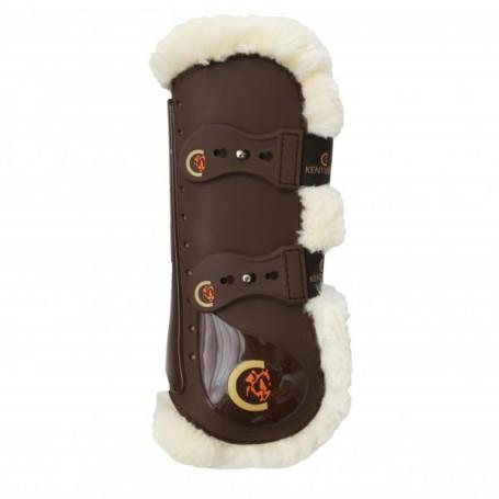 Kentucky Horsewear Springgamaschen Elastik Lammfell Braun