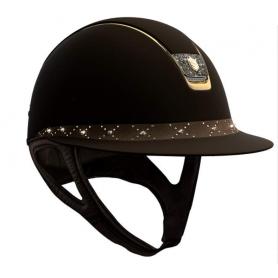 Samshield Helm Miss Shield Shadowmatt Braun mit Lozenge Swarovski und Crystal Fabric Blazon