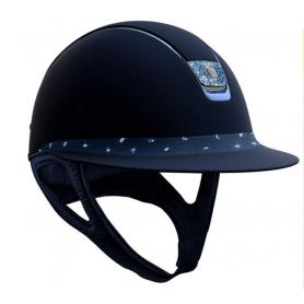 Samshield Helm Miss Shield Shadowmatt Blau mit Crystal Comet Light und Crystal Fabric Blazon
