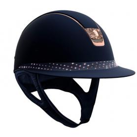 Samshield Helm Miss Shield Shadowmatt Blau mit Sparkling Alcantara und Crystal Fabric Blazon