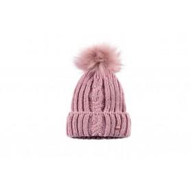 PIKEUR Mütze mit Fellbommel Rosé